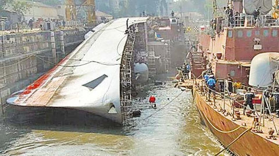 The cost of getting the ship upright was pegged at Rs20 crore, said Navy sources.