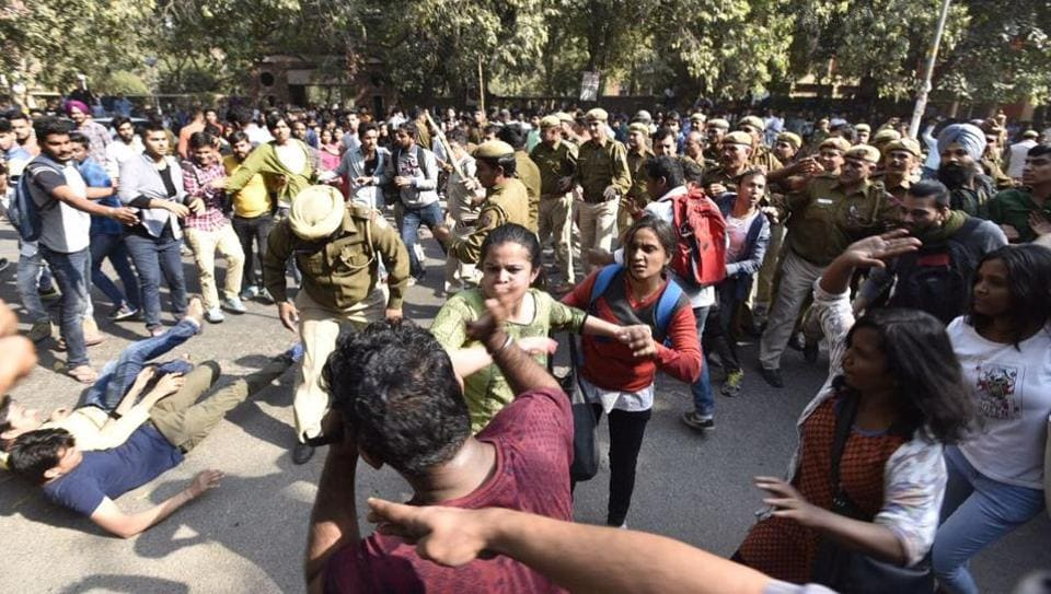 Clashes break out during a protest march taken out by DU students led by AISA and SFI members against the disruption of a literary event by ABVP members at Ramjas College in Delhi on Wednesday.