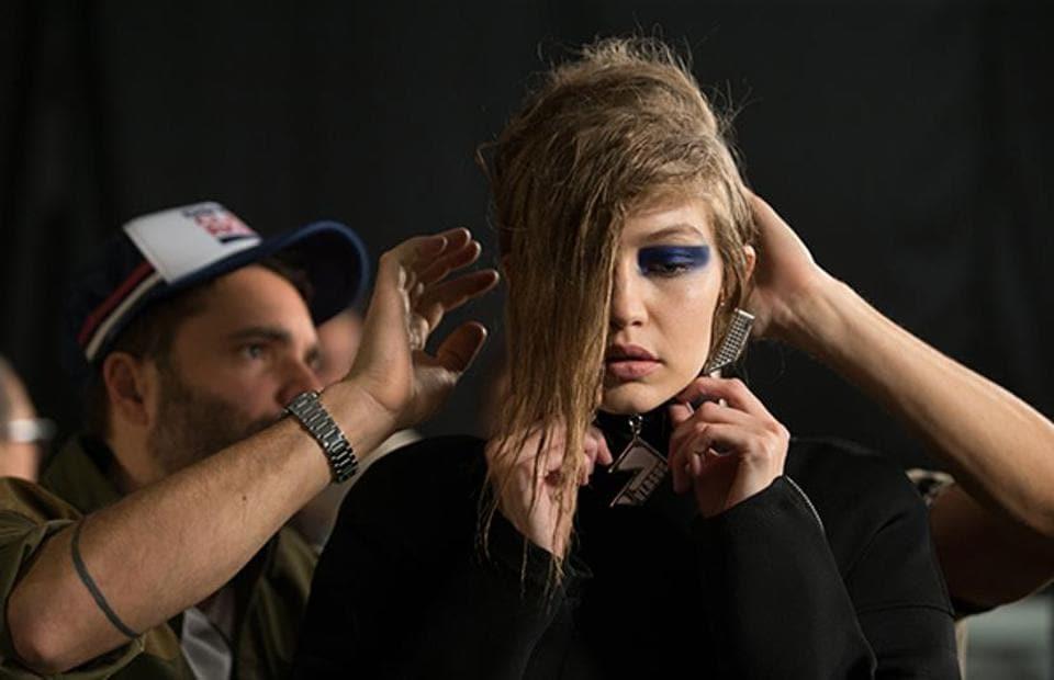 American supermodel Gigi Hadid for Versus (Versace) at the London Fashion Week.