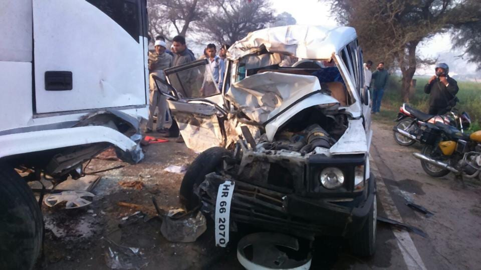The Tata Sumo turned into rubble after the accident