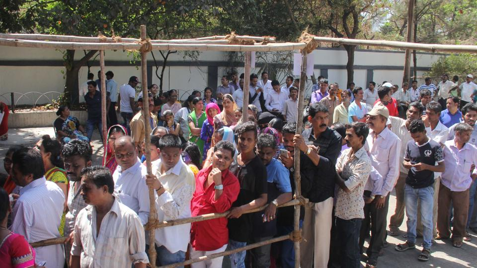 People in a queue at Badhwar Park in Mumbai on Tuesday.