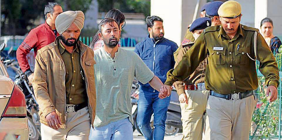 The coaccused Harmehtab Singh Rarewala after being produced in the district courts on Wednesday.