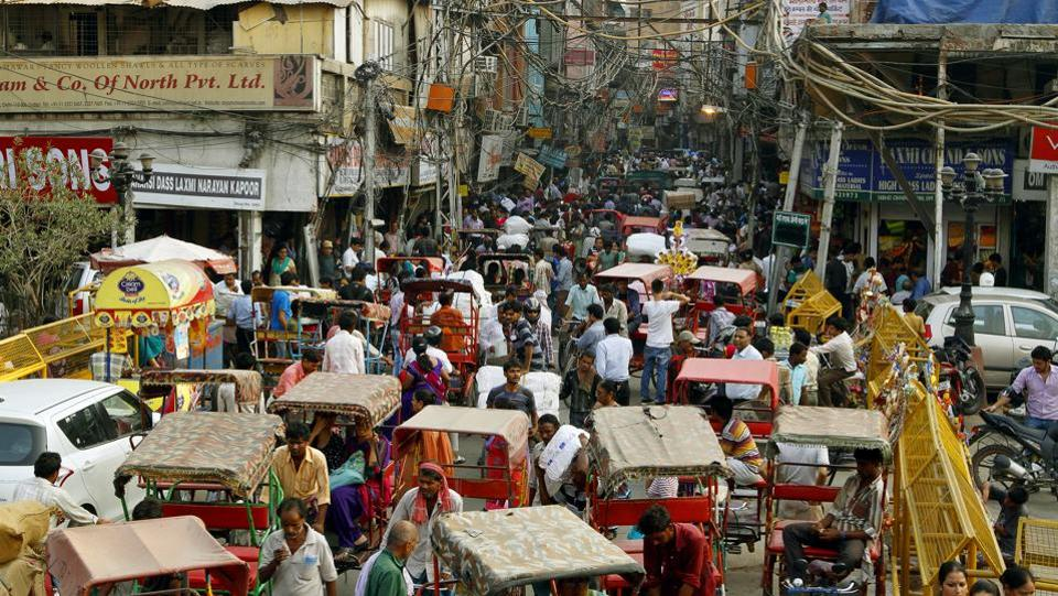 Traffic chaos in the bylanes of Chandni Chowk, in Old Delhi in 2013.