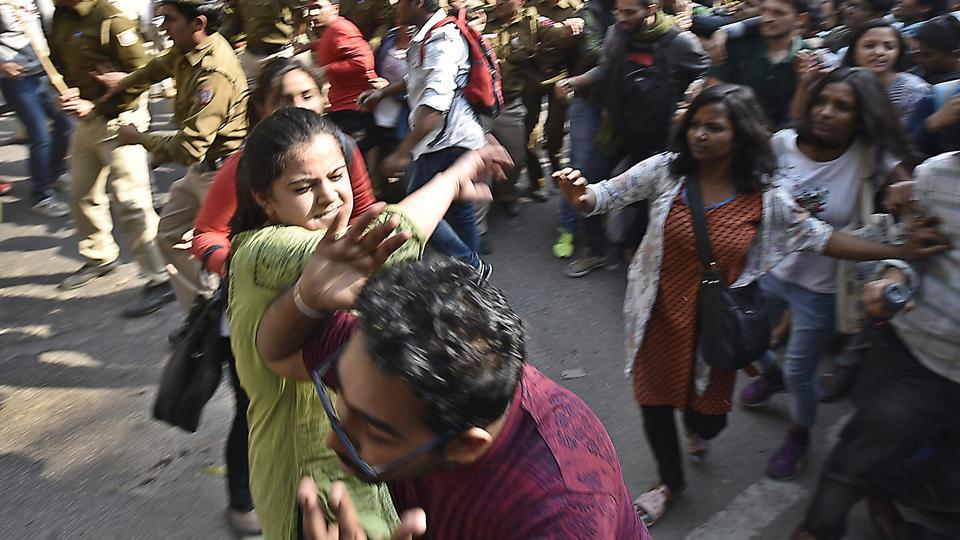 Ramjas College Principal Dr. Rajender Prasad said he is in discussion with the teachers who were organizers of the event and requested both the groups to not disrupt the peace and harmony in the college. (Raj K Raj/HT PHOTO)