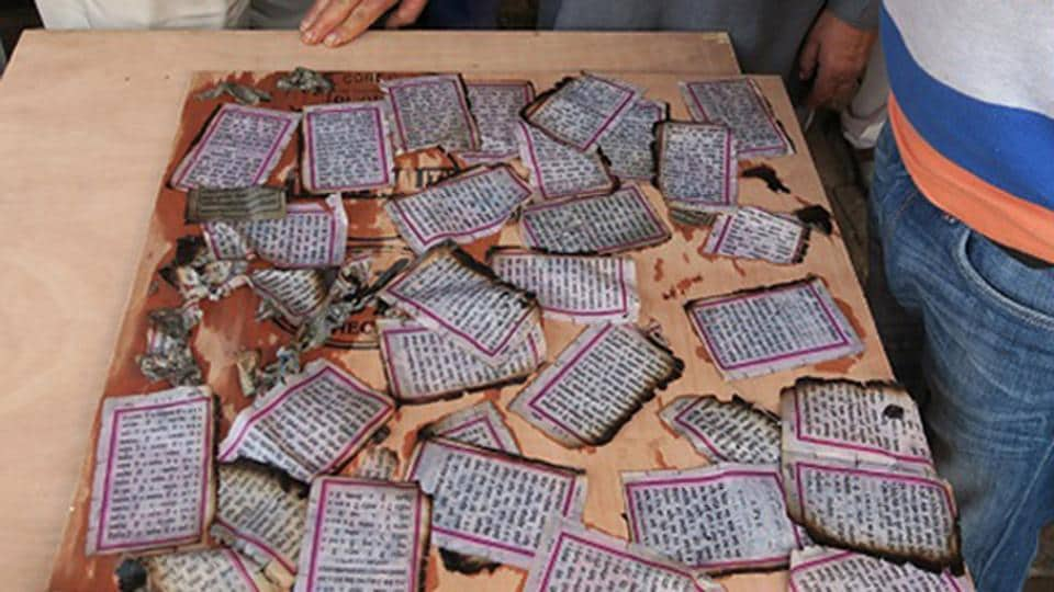 Torn pages were found scattered in an open drain at Khalra village along the border with Pakistan in Tarn Taran on Tuesday.