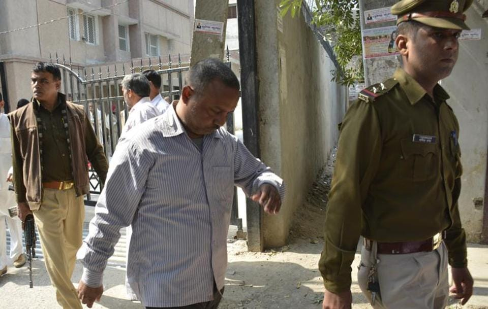 One of the convicted persons in the case at the Ghaziabad CBIcourt on Wednesday.
