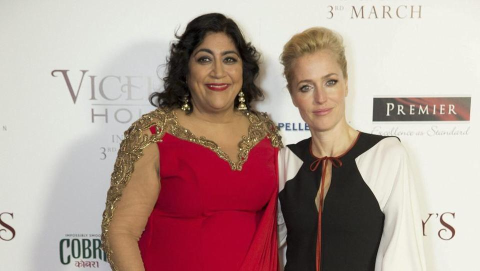 Gurinder Chadha, left, and Gillian Anderson of X-Files and Hannibal pose together. (AP)