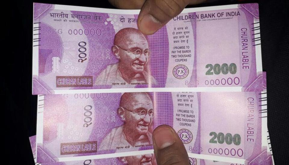 The notes, dispensed on February 6, read 'Children's Bank of India' in place of Reserve Bank of India and 'Guaranteed by the Children's Government' in place of Guaranteed by the Central Government.