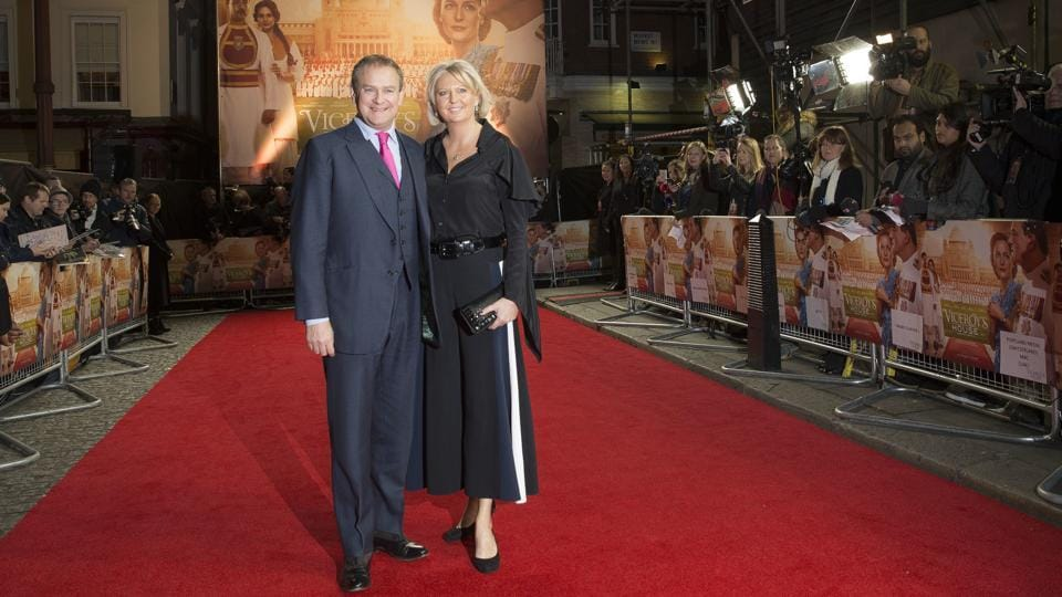 Actor Hugh Bonneville of Downton Abbey and wife Lulu Williams at the premiere. (Joel Ryan/Invision/AP)