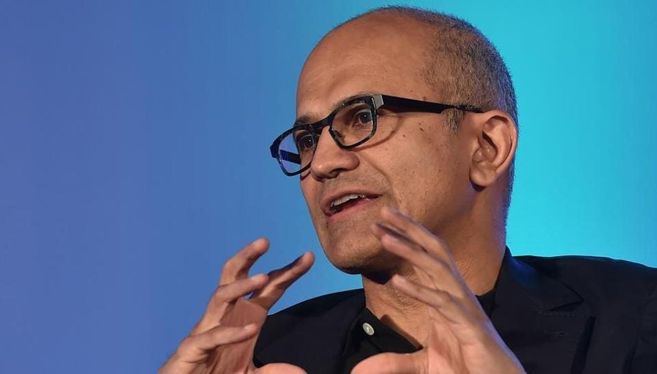 Microsoft CEO Satya Nadella speaks during an event bringing together digital industry leaders in Bangalore.
