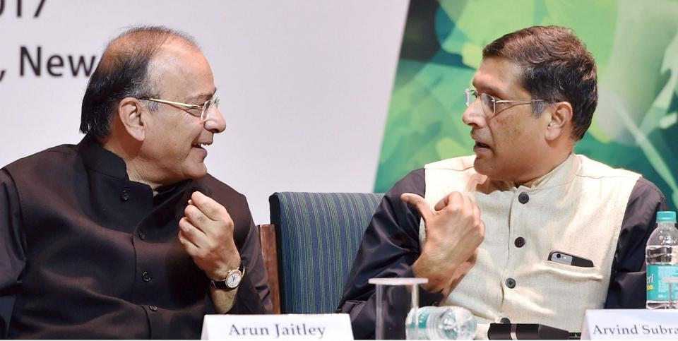 New Delhi : Finance Minister Arun Jaitley with Chief Economic Adviser Arvind Subramanian during a book release function in New Delhi.