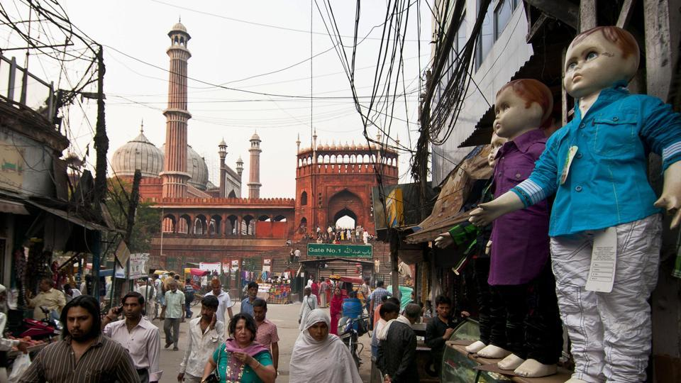 A  recent view of the entrance to Jama Masjid in Old Delhi near Gate No. 1.