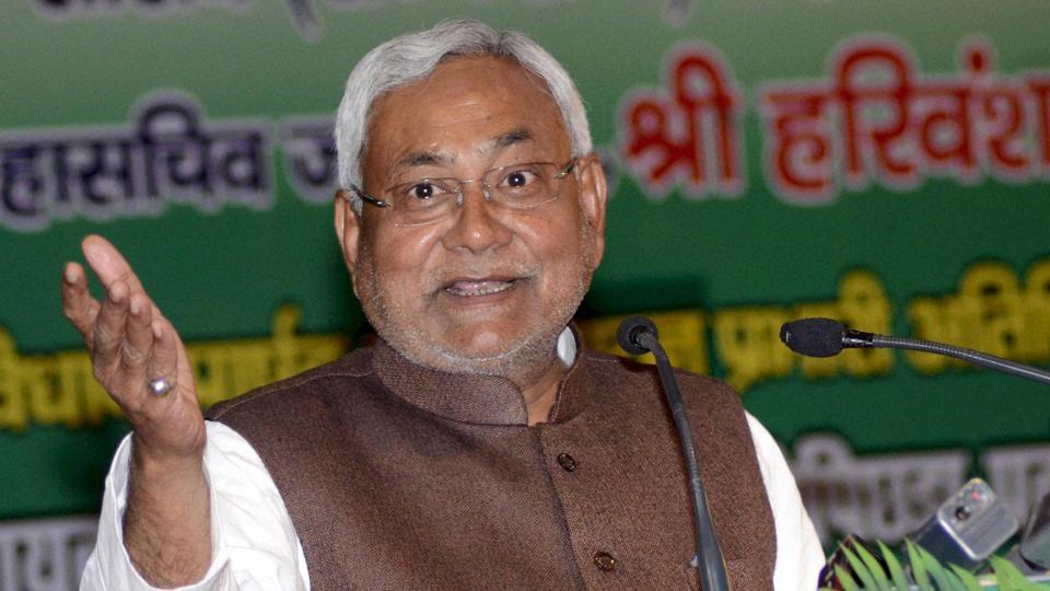 Bihar Chief Minister Nitish Kumar addressing party workers in Patna, January 24