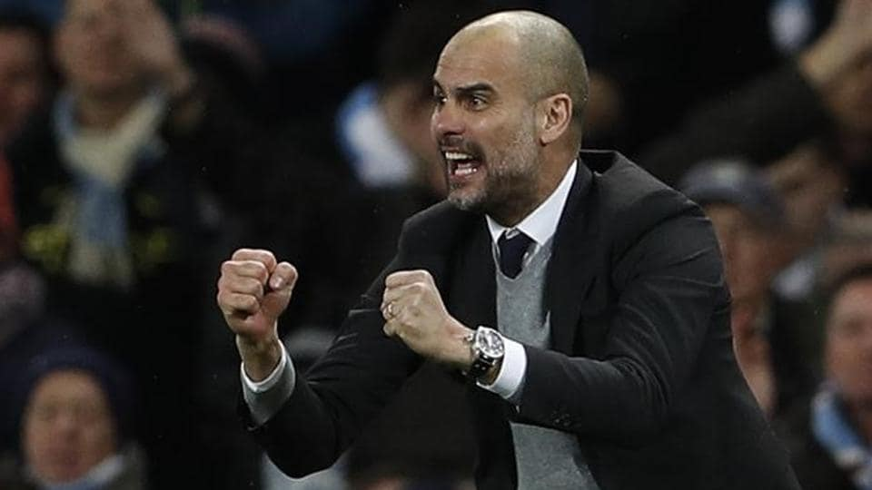 Manchester City manager Pep Guardiola celebrates after his team's win against ASMonaco.
