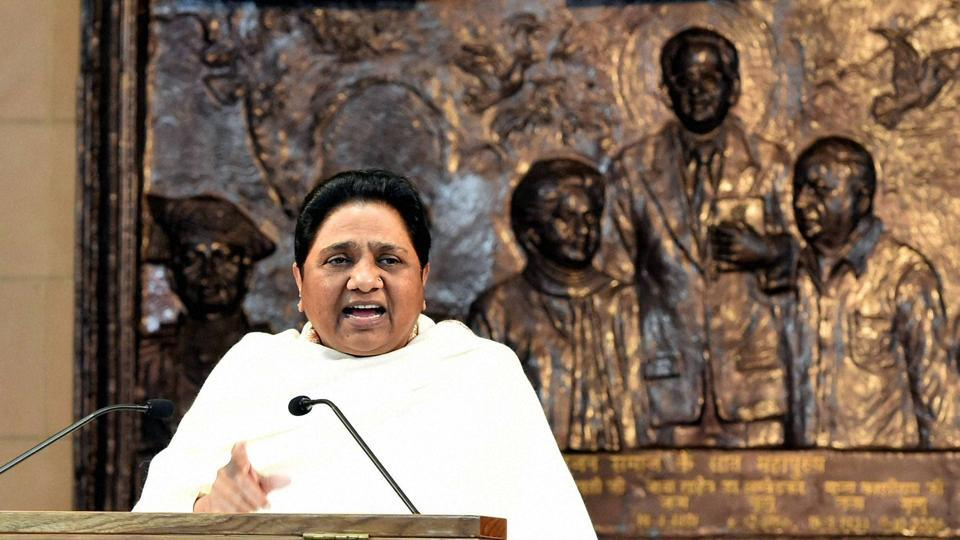 BSP supremo Mayawati addressing a press conference in Lucknow.