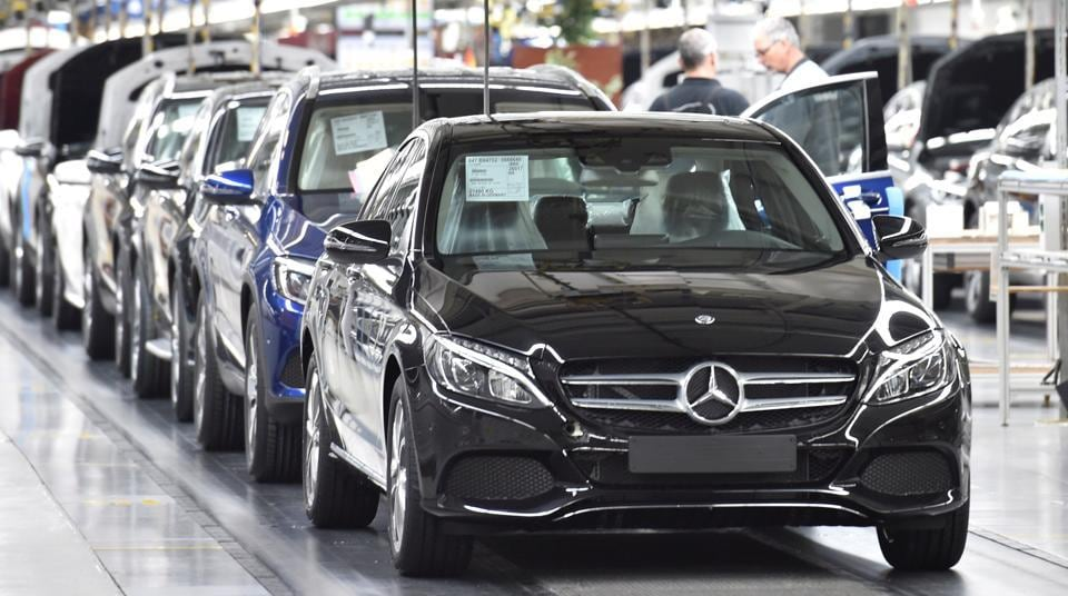 Mercedes-Benz cars in a production line at the Mercedes-Benz plant in Bremen, Germany.
