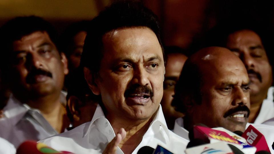 DMK working president MK Stalin addresses a press conference at the party office after a meeting in Chennai.