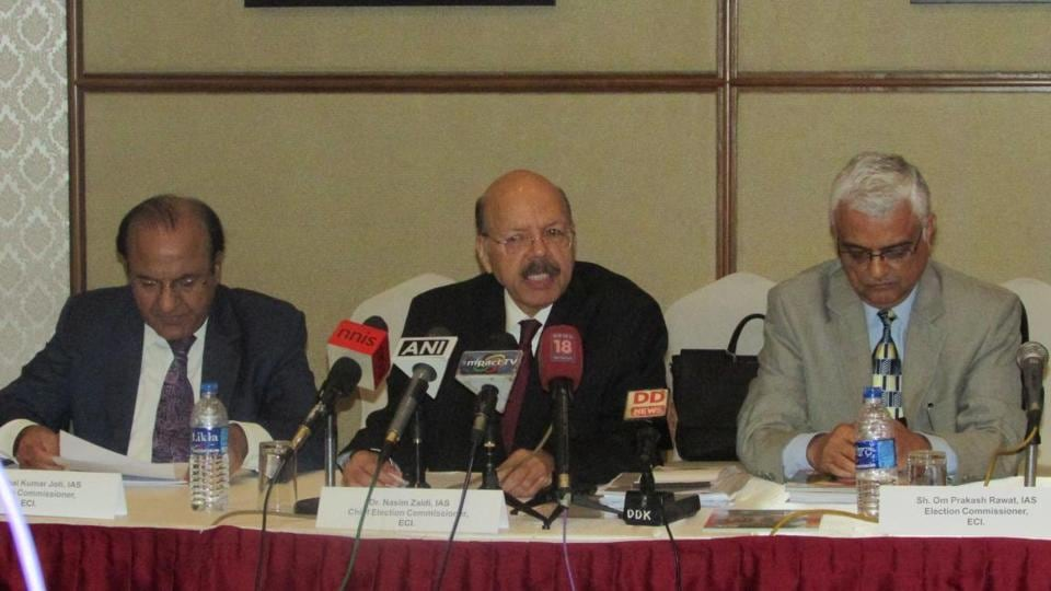 Chief Election Commissioner Dr Nasim Zaidi (centre) led Election Commission of India officials after reviewing preparedness in the poll bound Manipur for the last two days briefing the media on Wednesday. Manipur goes to 2-phase assembly polls on March 4 and 8.