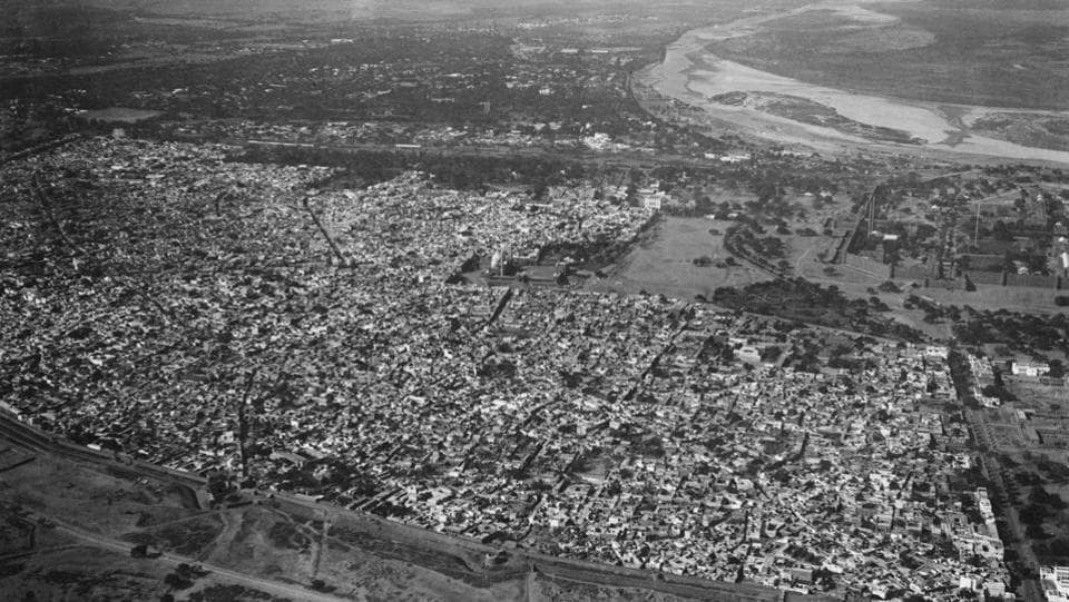 An aerial view of Old Delhi with the city wall in the foreground, circa 1935. The Yamuna river is also visible on the top right. (Getty Images)