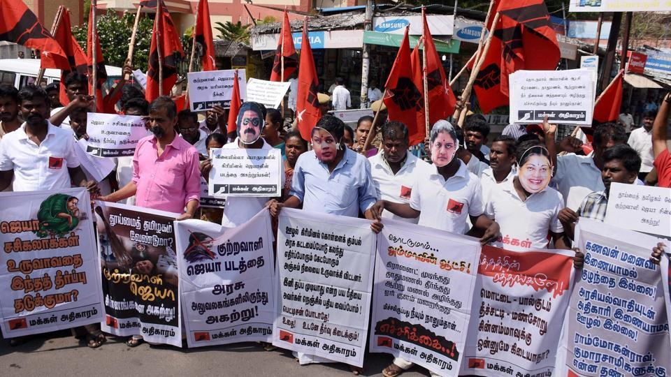 Members of Makkal Adhigaram protest urging to remove the memorial of former CM J Jayalalithaa from Marina as she was convicted in the disproportionate assets case.