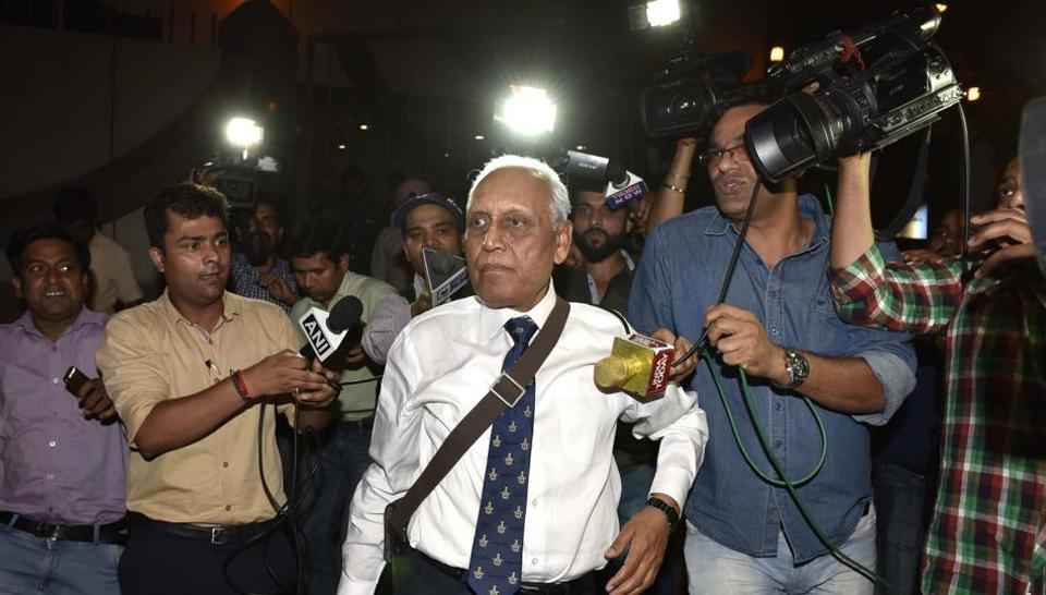 Former Air Chief Marshal SP Tyagi leaving the CBI headquarters on May 2, 2016, in connection with alleged corruption in the 3,600 crore AgustaWestland choppers deal