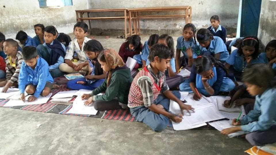 Mahadalit children being taught in Bihar's Nalanda district under the pilot project.