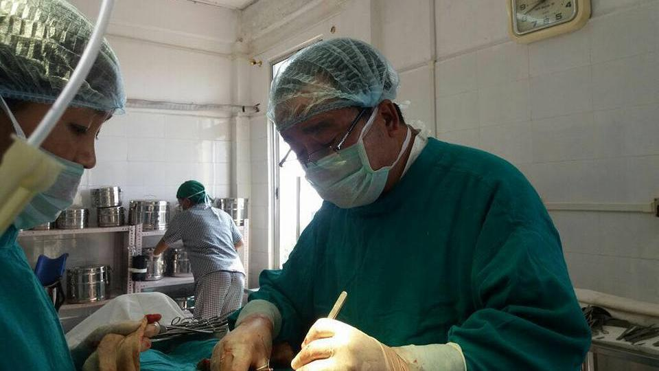 Dr K Beichhua performing an emergency surgery on a woman at the Saiha civil hospital on Wednesday.
