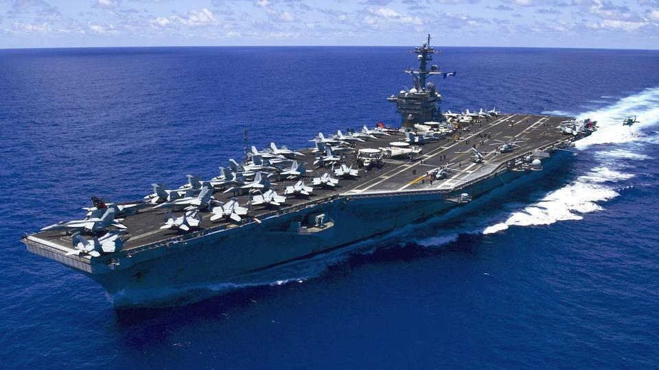 USS Carl Vinson, accompanied by a fleet of warships, is no stranger to the disputed waters.