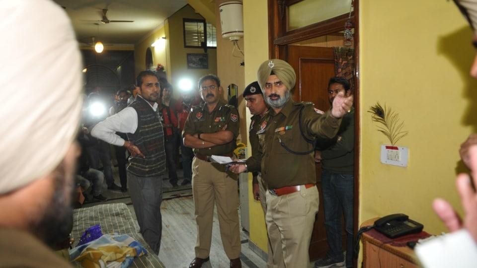 Police team at the crime spot inJalandhar on Thursday.