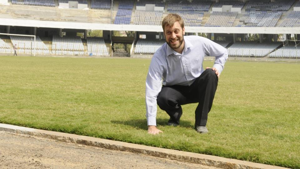 Fifa U-17 World Cup tournament director Javier Ceppi inspects progress of work at the Salt Lake stadium in Kolkata on Thursday.