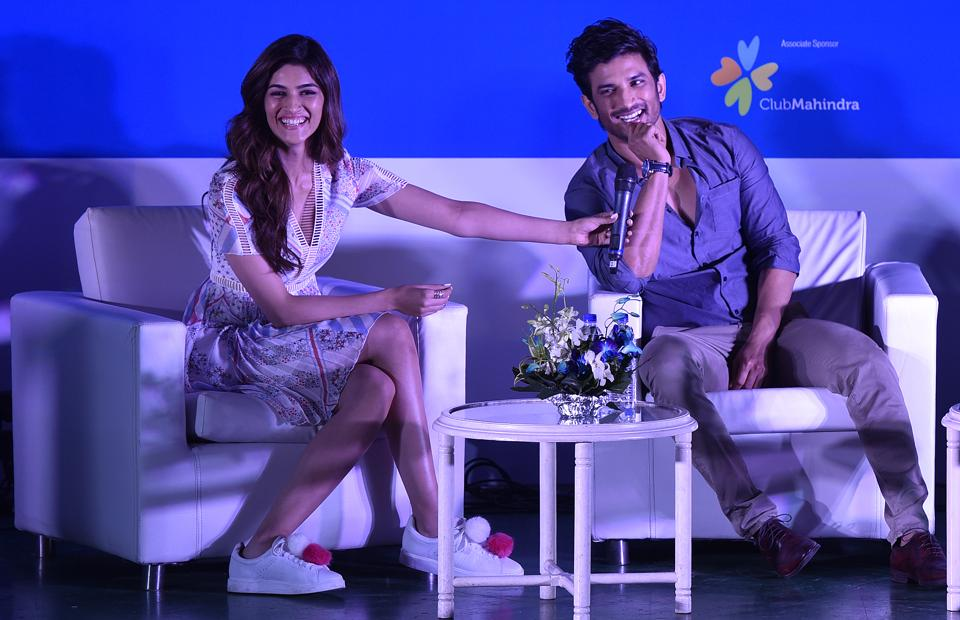 Actors Sushant Singh Rajput and Kriti Sanon during the ceremony at Bandra