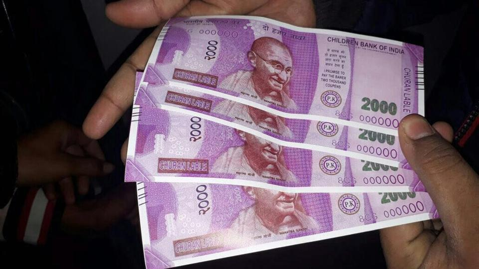 Fake notes of Rs 2000 which were dispensed by an SBI ATM in south Delhi on Wednesday.