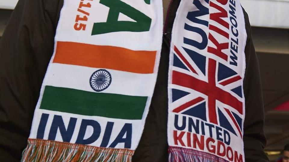 File photos of banners with Indian and BRitish flags at a welcome rally for Prime Minister Narendra Modi at Wembley Stadium in London on November 13, 2015.