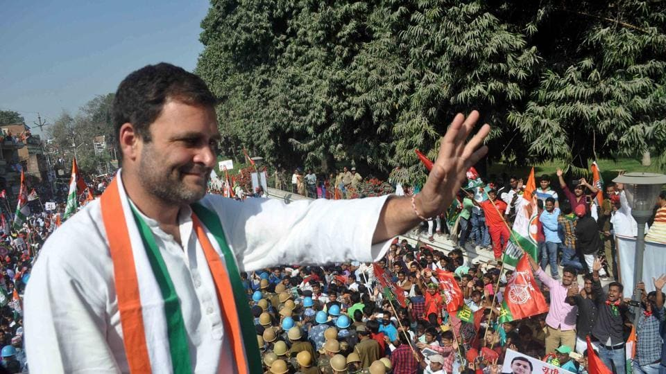 Congress vice-president Rahul Gandhi during a road show of Congress-SP alliance for the forthcoming Uttar Pradesh Legislative Assembly election, in Allahabad on Tuesday.