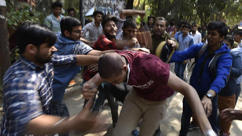 Akhil Bharatiya Vidyarthi Parishad  activists clash with students of Ramjas College on Wednesday, February 22.  The student body has upped the ante in the last two years, ever since the Narendra Modi government came to power.