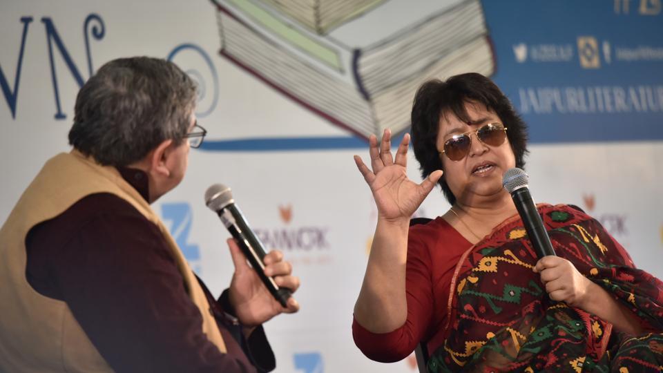 Salil Tripathi (left) and Taslima Nasreen at the Jaipur Literature Fest 2017, Jaipur, India, January 19, 2017