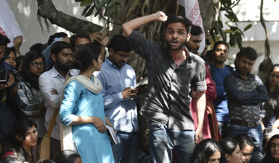 Omar Khalid addressing members of All India Students Association (AISA) and Jawaharlal Nehru University students at a protest demanding the arrest of Akhil Bharatiya Vidyarthi Parishad (ABVP) members at the police headquarters on Thursday.
