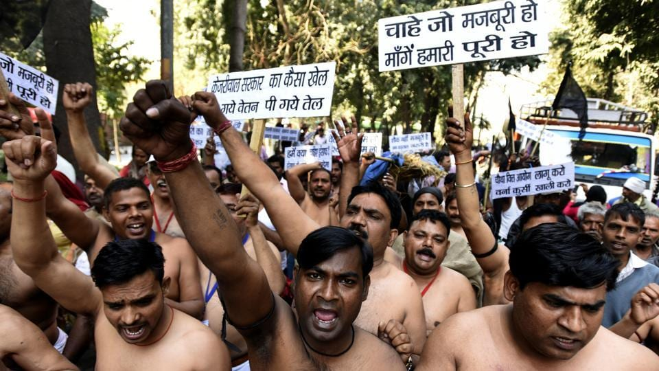 MCD workers marched from Rajghat to the Delhi secretariat on Thursday.