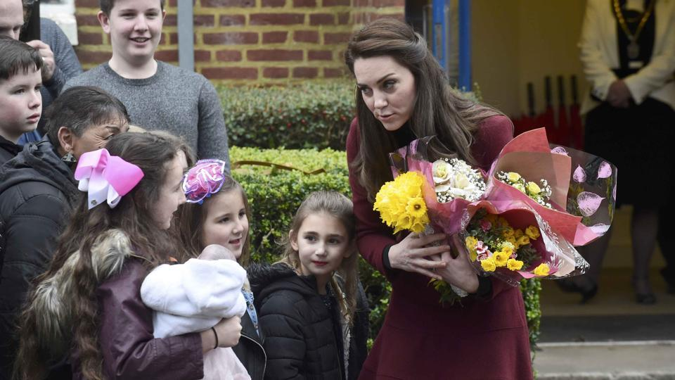 Visiting a mental health center for children in South Wales on Wednesday, the former Kate Middleton spent time talking to children and teens with mental health issues before picking up a pool cue. (Rebecca Naden / REUTERS)