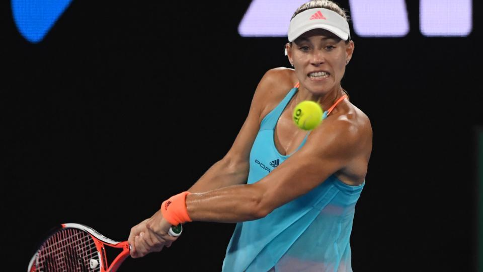 Angelique Kerber hits a return against Monica Puig at the Dubai Tennis Championships.