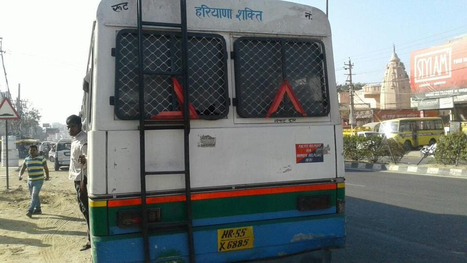 The fake Haryana Roadways bus that was impounded after the transport minister intervened.