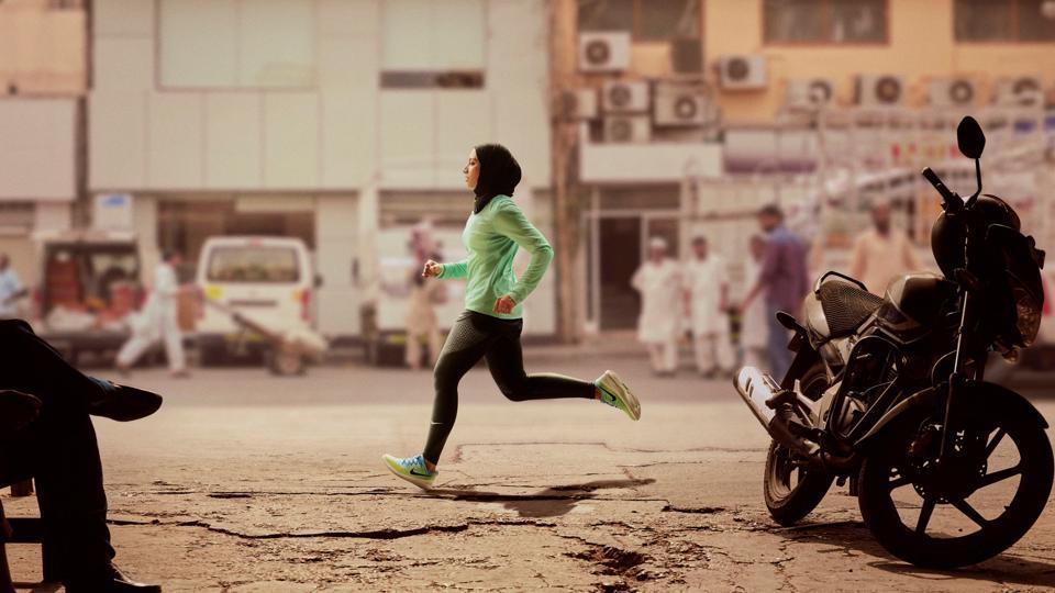 Zahra Lari runs in a scene shot for the Nike Middle East ad campaign filmed in Dubai.