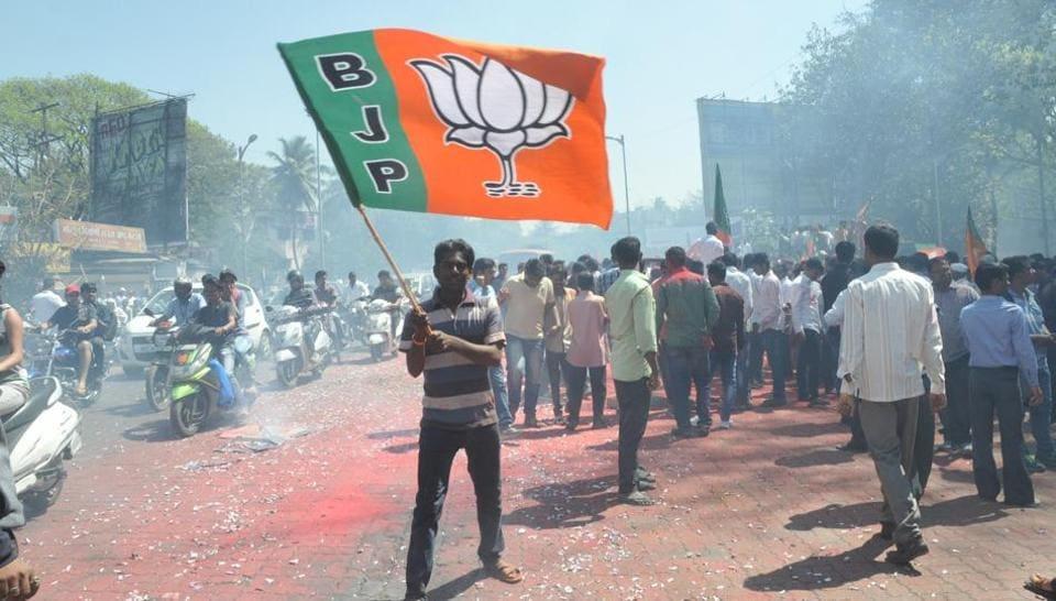 BJPworkers celebrate in Pune.