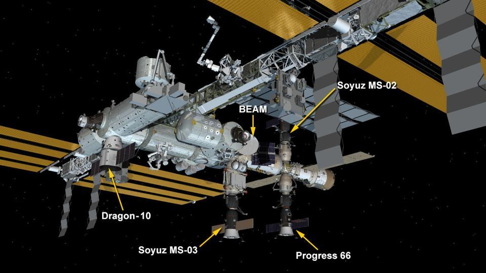 International Space Station Configuration. Four spacecraft are at the station including the SpaceX Dragon, the Progress 66 cargo craft and the Soyuz MS-02 and MS-03 crew vehicles.