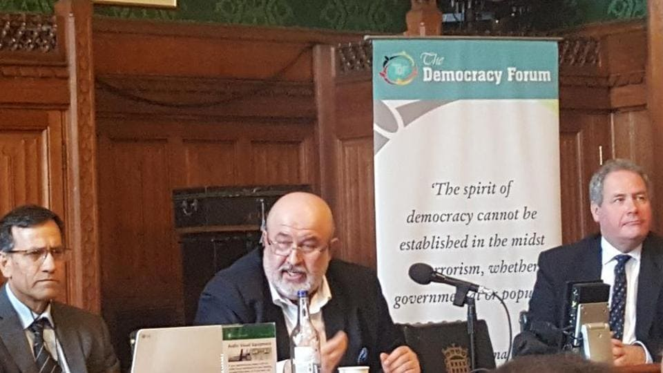 Mir Suleman Dawood Jan Ahmedzai addresses a seminar at the House of Lords in London on Thursday.