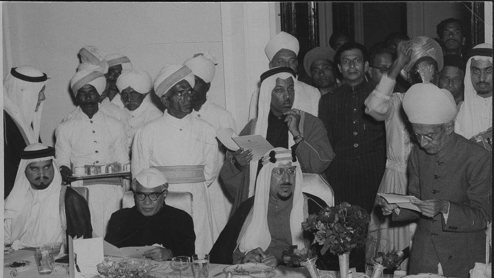 Nizam of Hyderabad Osman Ali Khan Siddiqi Bahadur welcoming HM the King Saud Bin Masjid Abdulaziz Al Saud of Saudi Arabia at the Banquet held in his honour at Shah Manzil, Hyderabad.