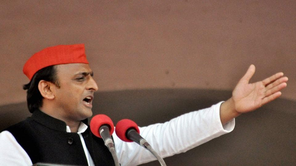 Uttar Pradesh chief minister Akhilesh Yadav addresses an election rally in Rampur.