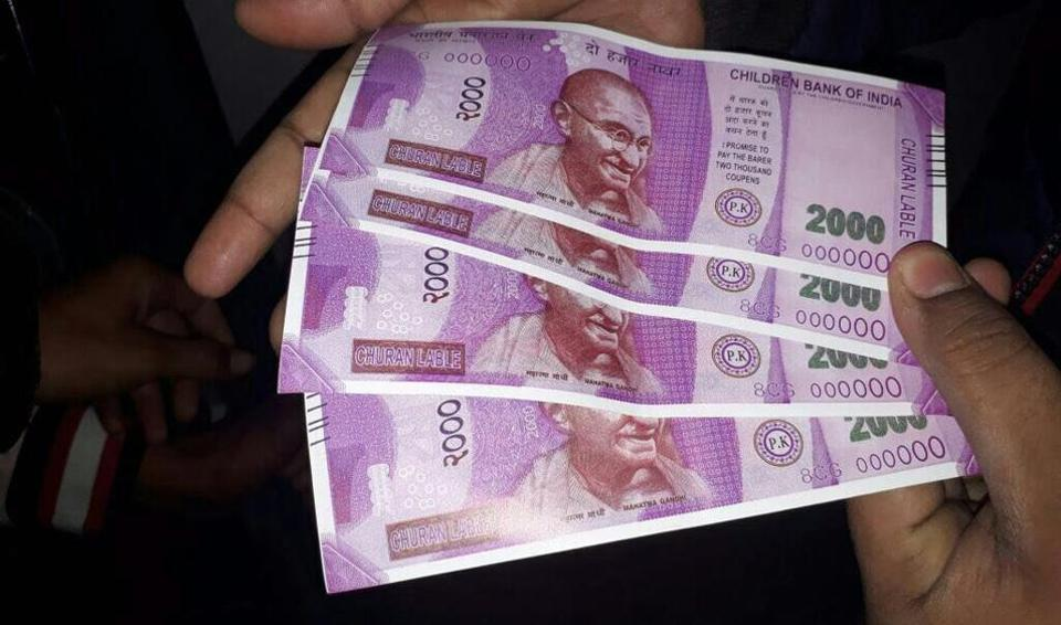 Fake Rs 2000 notes dispensed by a State Bank of India ATM in south Delhi's Sangam Vihar. The notes carried the name of 'Children Bank of India'.
