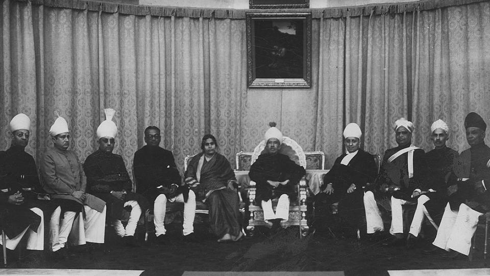 Nizam with his Council of Ministers at the Durbar Hall.