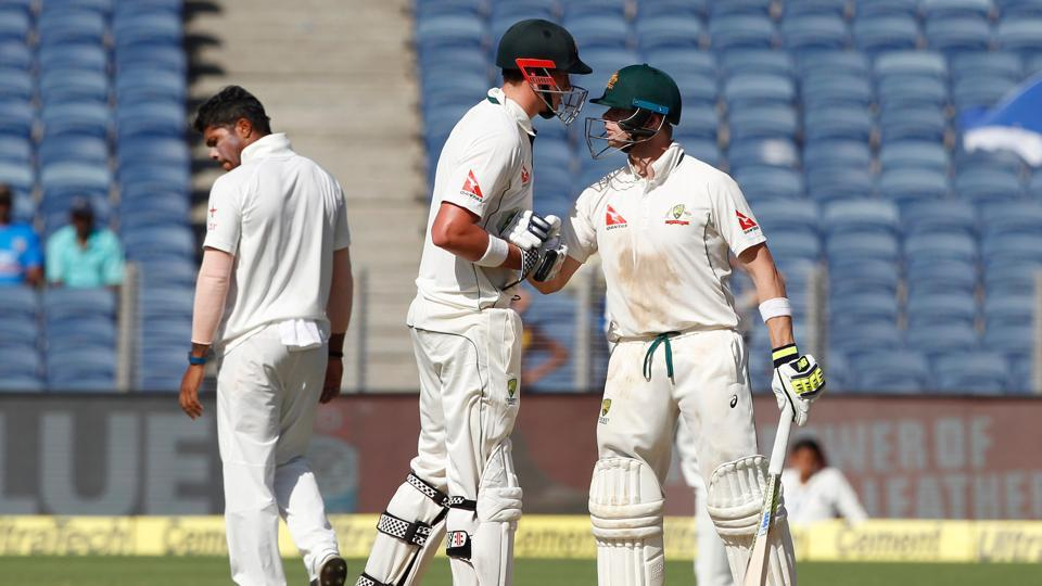 Steven Smith smashed a fifty and helped Australia's lead near 300 as they ended day 2 on top against India in Pune on Friday.